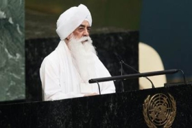 Bhai Sahib Dr Mohinder Singh delivering a passionate message of common ground to realise working for the common good at the United Nations earlier this year.