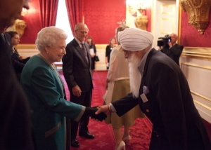 Her Majesty The Queen greets Bhai Sahib