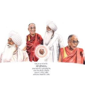 "Bhai Sahib Bhai Mohinder Singh Ji & Dali Lama, "" Being happy is not a matter of destiny. It is a matter of options. ""Take care of your thoughts because they become words, Take care of your words because they will become actions, Take care of your actions. Painting by GNNSJ volunteer, Charan Singh."