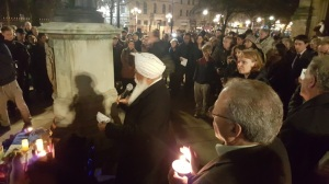 Bhai Sahib Ji address Vigil for Paris at outside Cathedral