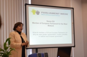 Neena Gill MEP invites the participants to get involved and do their bit for society