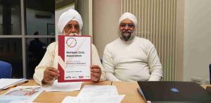 Bhai Sahib, Bhai Mohinder Singh, Chairman of Nishkam Group of Organisations with Prof Upkar Singh Pardesi, Vice Chairman of Nishkam Centre presented with IiV Certificate